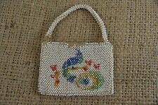 VINTAGE 1920s beaded small evening purse with hand painted peacock design