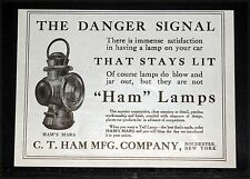 1910 OLD MAGAZINE PRINT AD, HAM'S MARS CAR LAMPS DON'T BLOW OUT, DANGER SIGNAL!