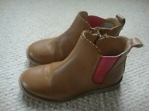 John Lewis girl's tan leather chelsea boots size 12