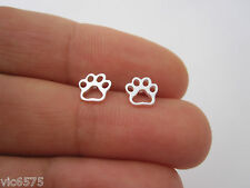 925 sterling silver small ANIMAL CAT DOG PAW PRINT outline stud earrings
