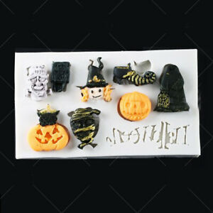 Pumpkin Witch Silicone Fondant Mould Cake Sugarcraft Ghost Baking Chocolate Mold
