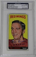 TED LINDSAY SIGNED 1964 TOPPS HOCKEY CARD #82 PSA/DNA AUTHENTICATED MINT 10 AUTO