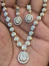 Pave 4.80 Cts Natural Diamonds Necklace Earrings Set In Solid Certified 14K Gold
