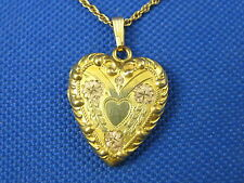 "VINTAGE GOLD FILLED ETCHED FLORAL HEART LOCKET W/ 18"" 1/20TH 12K GF CHAIN"