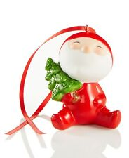 Holiday Lane Glass Baby Santa With Tree Ornament