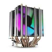 Cpu Air Cooler 6 Heat Pipes Twin-Tower Heatsink With 90Mm Rainbow Led Fans I8J4