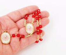 Rosary Necklace Glass beads Red Gold Chaplet Prayer w/ Holy Spirit Image