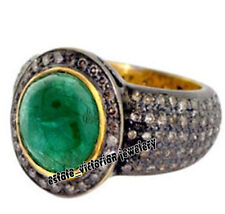 Vintage Estate 3.87Ct Pave Rose Cut Diamond Emerald Sterling Silver Ring Jewelry