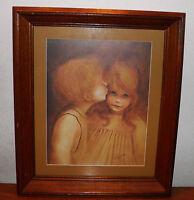 """A Little Kiss"" Vtg Signed Print Margaret Kane Framed Ready To Hang BUY IT NOW"