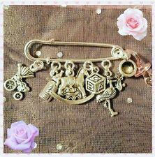 "Handmade new baby pin brooch (""antique silver"")"