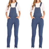 Women Summer Denim Pocket Jumpsuit Ladies Casual Slim Fit Pencil Jeans Overall