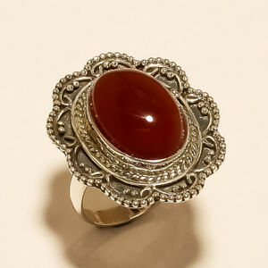 Natural Egyptian Carnelian Filigree Ring 925 Sterling Silver BohoVintage Jewelry