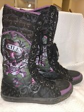 Don Ed Hardy Design Womens SZ 7 US BLACK QUILTED LACE UP BOOTS NEW