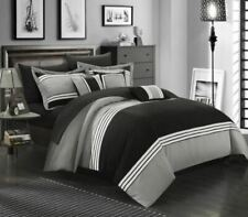 Chic Home Design Falcon 10-Piece Bed In A Bag Set Queen Black Grey White New