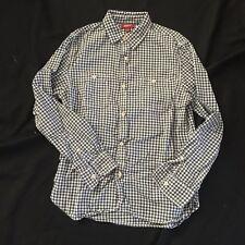 Arizona Button Down Men's Shirt Medium Gingham Plaid Navy Blue