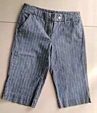 New York & Company Women's Blue Pin Striped Long Shorts Size 4