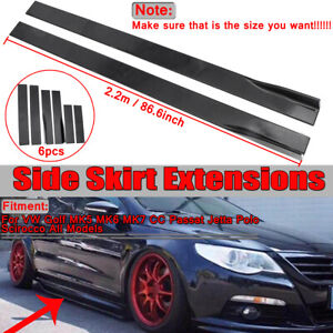 86.6'' Side Skirt Panel Splitter Lip Matte Black For VW Golf MK5 MK Passat Jetta
