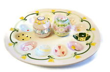 Easter Egg Serving Plate Tray Matching Salt and Pepper Shakers Ceramic Pastel