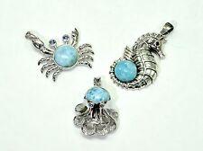 Larimar Pendants (Wholesale) 3 Pendents Premium Jewelry. .925 Sterling Silver