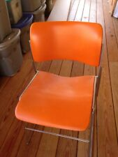 DAVID ROWLAND 40/4 Vintage Mid Century Modern Stacking Chair 1979 Orange Steel