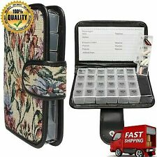 Floral Small 7 Day Daily Pill Organizer Portable Locking Travel Case Doses