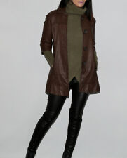 VINCE Brown 3/4 Sleeve Leather Trench Coat Size XS