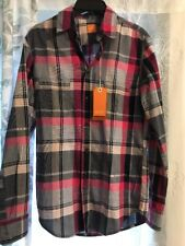 Men's HUGO BOSS ORANGE White Pink Grey Plaid Shirt Small NWT NEW $145+ CalifoE