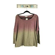 NEW Easel Womens S Multicolored Ombre Slouchy Shirt Oversized Boxy Top Ombre