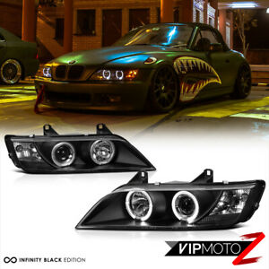 "1996-2002 BMW Z3 ""M-POWER"" Black Angel Eye Halo Ring Projector Headlights LH+RH"