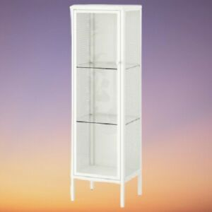 IKEA BAGGEBO Cabinet With Glass Doors, Metal White34x30x116 cm *BRAND NEW*