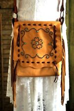 Handmade Soft Cowhide Leather CHEROKEE SHOULDER BAG Hand Beaded Hand Laced TAN