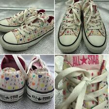 Converse All Star Size 3 35 White Heart Design Low Tops Trainers Girls Womens