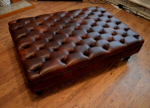 Extra Large Chesterfield  Deep Button Large Footstool in Chestnut Faux Leather