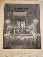 Litho CHAPELLE ARDENTE MORT ATTENTAT FIESCHI FUNEBRE ROMANTISME LOUIS PHILIPPE