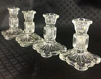 Verre Chandeliers Vintage Art Déco Transparent Verrerie Set 4 Bougie Holders