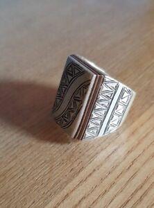 Sterling Silver Ebony Moroccan Berber Tuareg Men's Ring