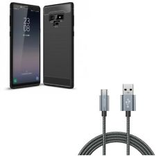 Galaxy Note 9 Slim Fit Carbon Fiber Case w Braided 10ft Long Type-C USB Cable