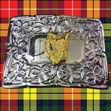 New Scottish Kilt Belt Buckle Irish Harp Chrome Finish/Highland Celtic Buckles