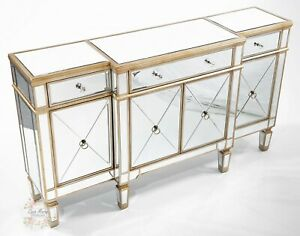 Antique Large Mirrored Glass Sideboard Cabinet Cupboard Champagne Gold Furniture