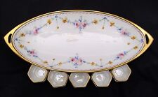 Royal Austria OE&G Green Wreath Oval Dish / Platter / Bowl + 5 Dip Dishes -Gold