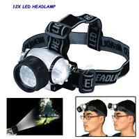 12 LED HEADLIGHT HEAD LAMP LIGHT TORCH CAMPING FLASHLIGHT SUPER BRIGHT LED TORCH