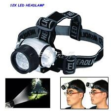 12 LED HEADLIGHT HEAD LAMP LIGHT TORCH CAMPING FLASHLIGHT SUPER BRIGHT LED TORCH