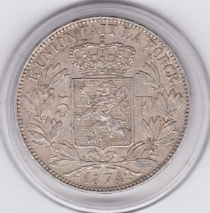 Belgium  1874   5  Franc  Large  Silver  90%   Coin