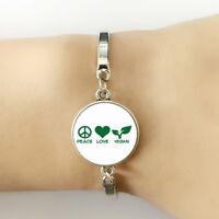 Vegan Handmade Bracelet Vegetarian Vegan Jewelry Adjustable Peace Sign Silver