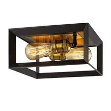Home Decorators Walden Forge 2-Light Black Frame Flush Mount Ceiling Light