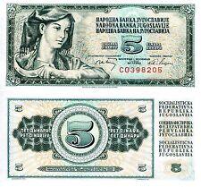 YUGOSLAVIA 5 Dinara Banknote World Paper Money UNC Currency Pick p81b Bill Note