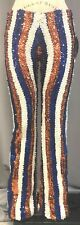 1-only sample VINTAGE PRO-CHEER/PRO-DANCE ORANGE/BLUE/WHITE SEQUINED PANT:Size M