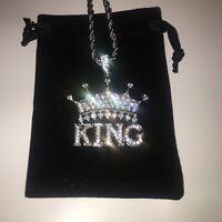Mens Silver King Chain Pendant Lab Diamonds Fully Iced Out Hiphop Rap Trapstar!