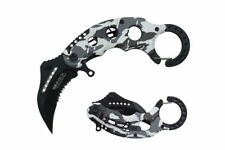 """6"""" Assisted Open Karambit Knife with Wt Camo Handle Key Ring"""