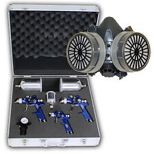HVLP PISTOLET A PEINTURE AEROGRAPHE PNEUMATIQUE 1,7+1,3 + 0,8mm + coffret alu +M